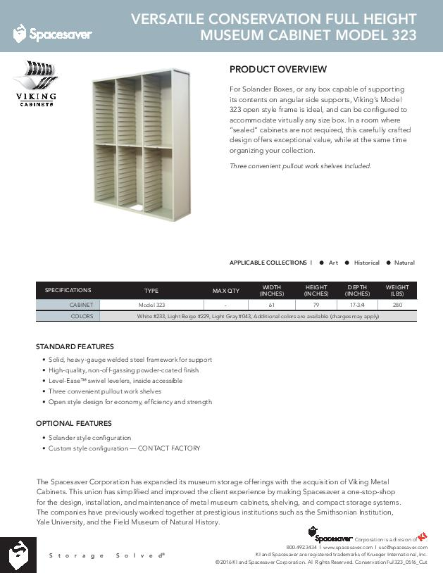 Free Download Cut Sheet: Viking Versatile Conservation Full Height Museum Cabinet Model 323