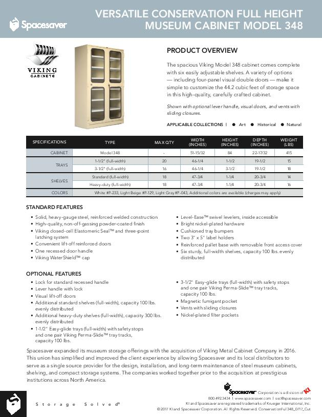 Free Download Cut Sheet: Viking Versatile Conservation Full Height Museum Cabinet Model 348