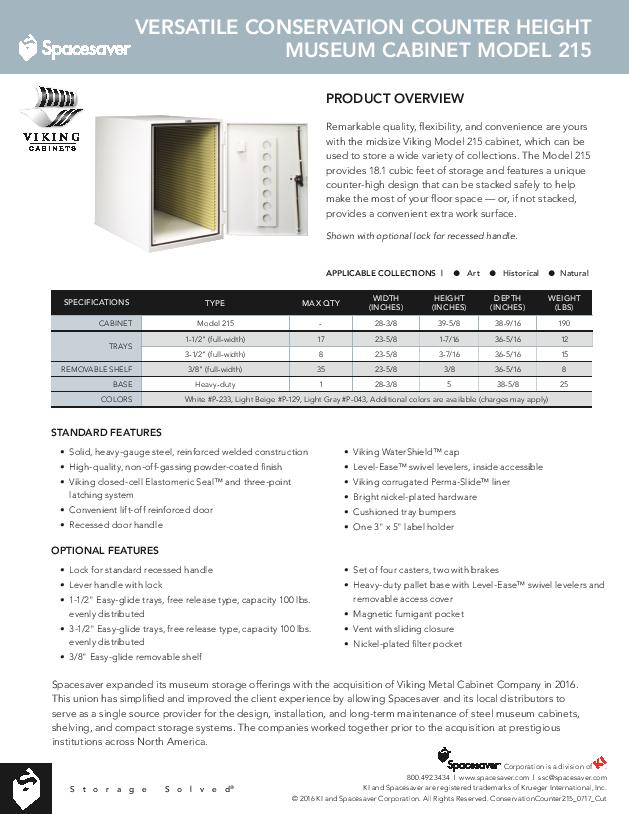 Free Download Cut Sheet: Viking Versatile Conservation Counter Height Museum Cabinet Model 215