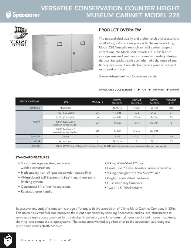 Free Download Cut Sheet: Viking Versatile Conservation Counter Height Museum Cabinet Model 228