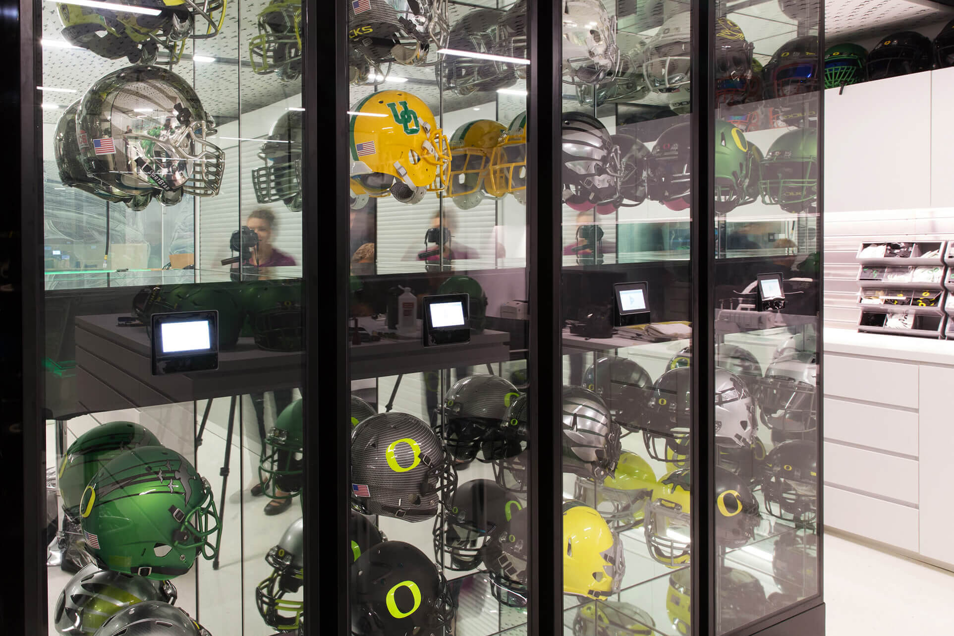 Oregon Ducks Helmet Display on Shelving