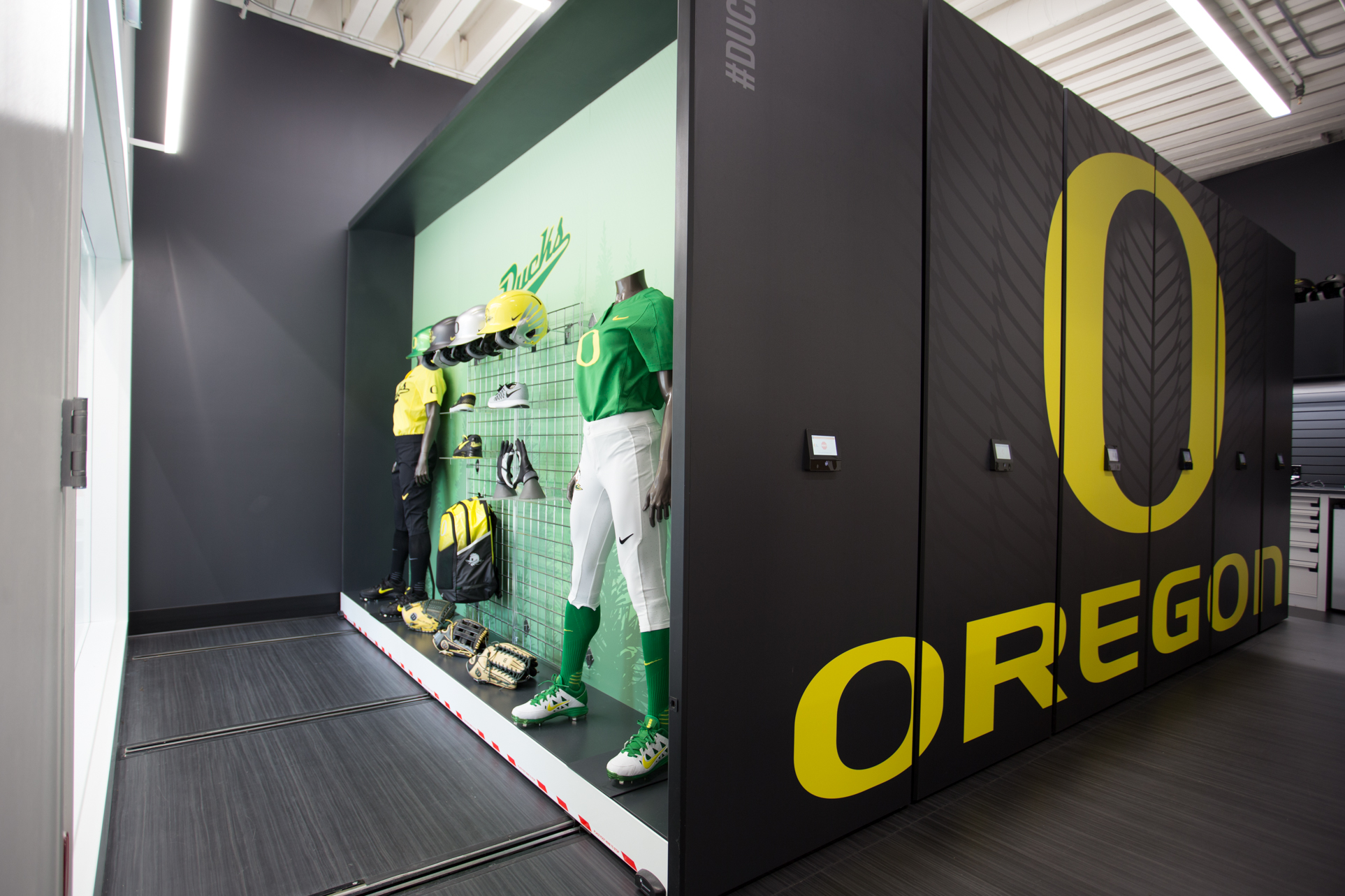 Oregon Softball display and athletic equipment storage