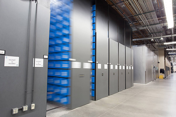 Spacesaver high-density shelving at the Tucson Police Department offsite evidence storage warehouse.