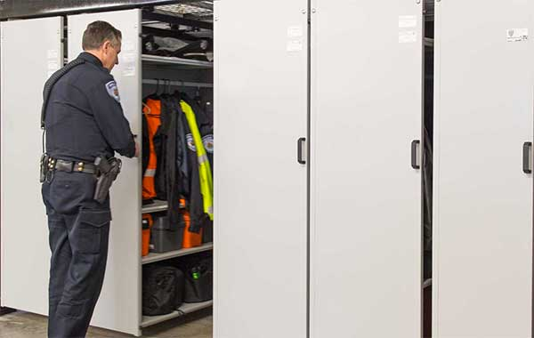 Police Department Gear Storage with Suspended Mobile Shelving