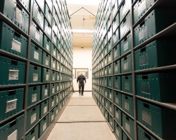 Drug evidence stored on Spacesaver compact shelving at the Tucson Police Department's offsite evidence storage facility.