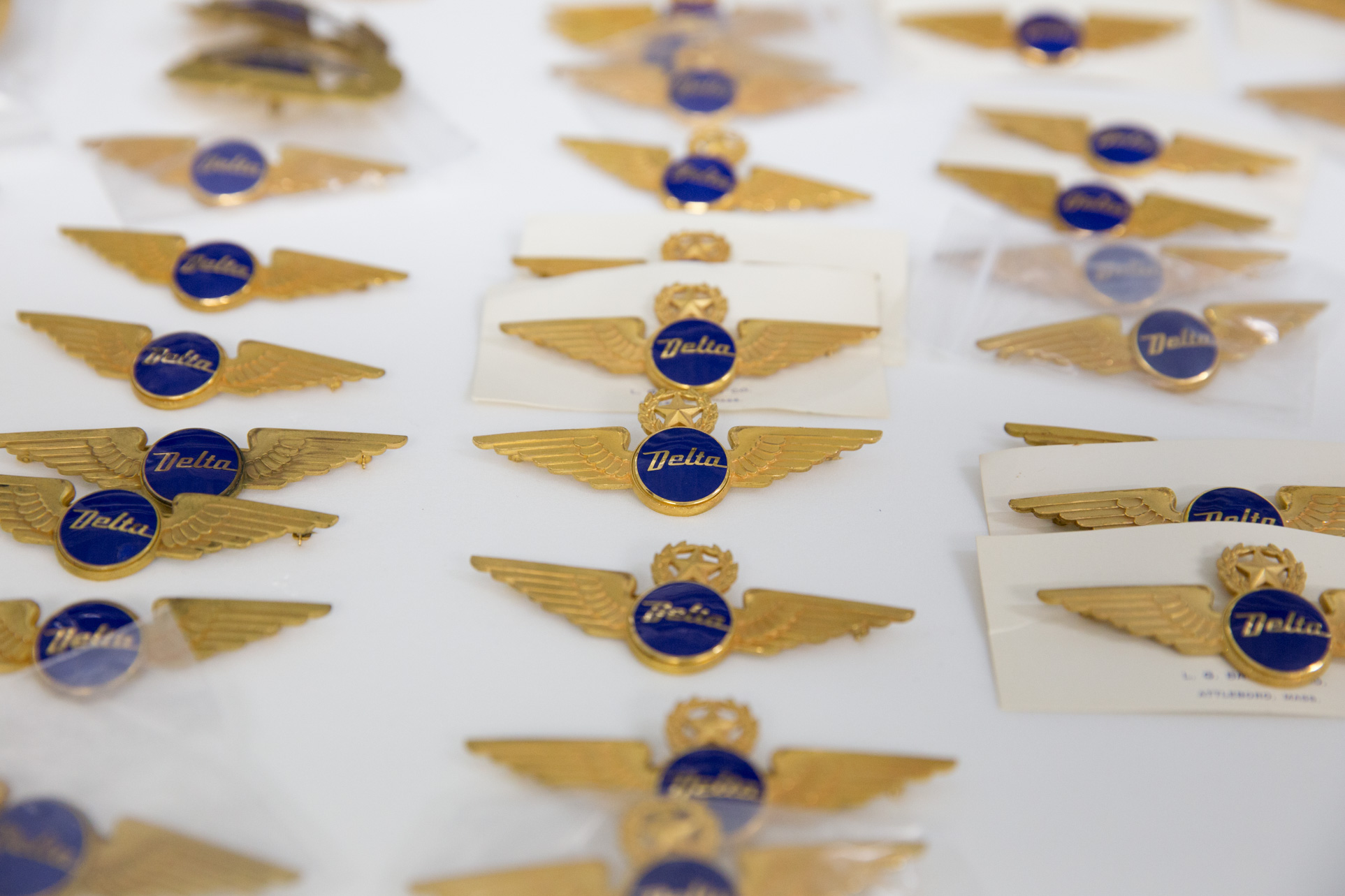 Delta wings stored in drawers at corporate museum in Atlanta