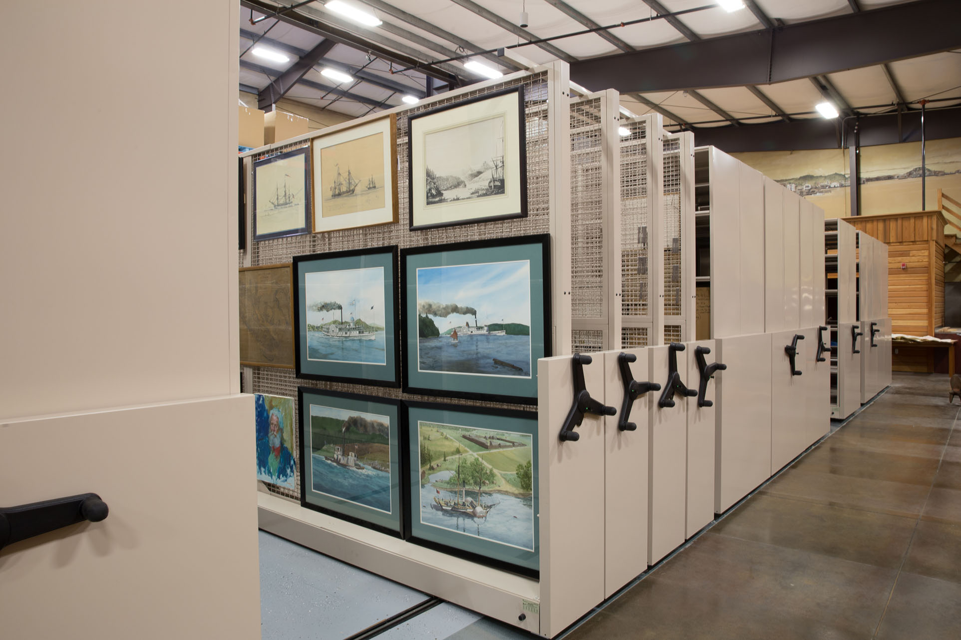 Art racks at maritime museum