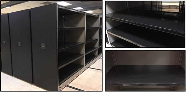 Thermoplastic paint on extra-wide shelving