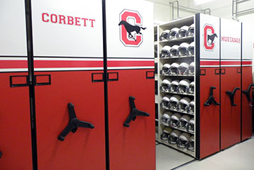 Messy Athletic Equipment Storage