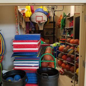 example of messy athletic storage