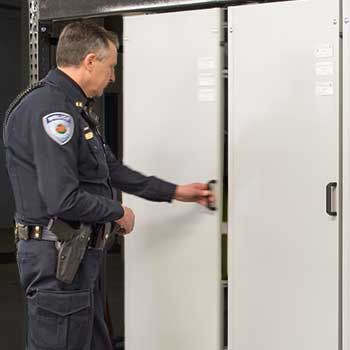 Police Department Evidence Room Storage with Suspended Mobile Shelving