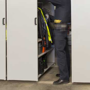 Police Department Duty Gear Storage with Suspended Mobile Shelving