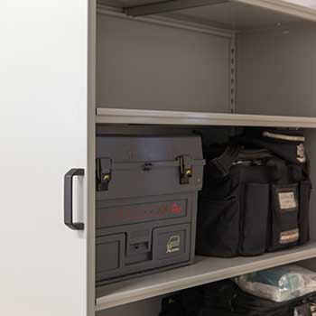 Police Department Maintenance Supply Storage with Suspended Mobile Shelving