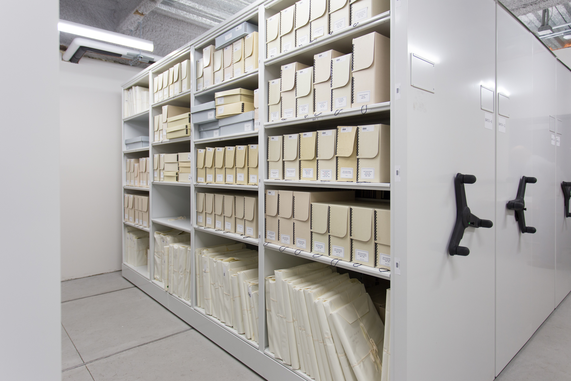 Archives stored on mobile mechanical assist at the Dunn Museum