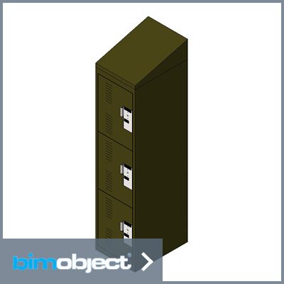 BimObject Personal Storage Locker 3 Tier Single Door Slope Top
