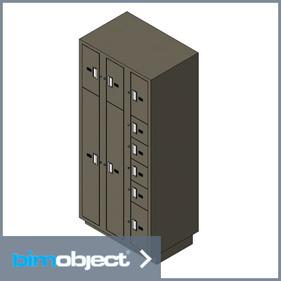 Download BimObject - Evidence Storage Locker Pass-thru 10 openings multi rear door