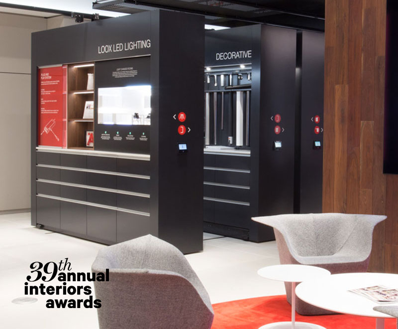 The Häfele New York Showroom was awarded the Contract Interiors Award for the showroom category in 2018. Judges noted the innovative use of space to showcase product.