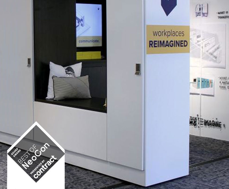 "Movable walls can serve as storage and workspaces. This installation won a ""Best of NeoCon - Silver Award"" from Contract at NeoCon 2018."