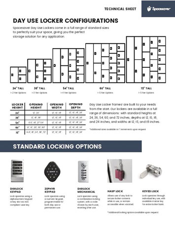 download technical sheet for day use locker
