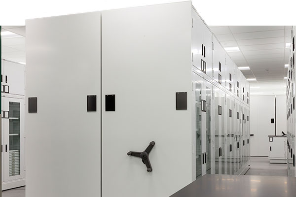 high-density lab shelving, lab shelving with doors, chemical storage in a university science lab