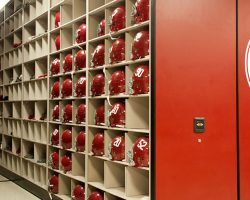 helmet storage on mobile shelving at university of alabama