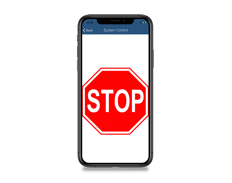 mobile system control app stop