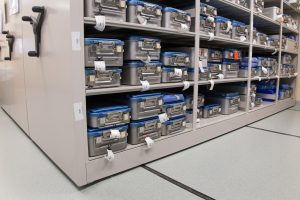 Surgical Kits stored on high-density shelving