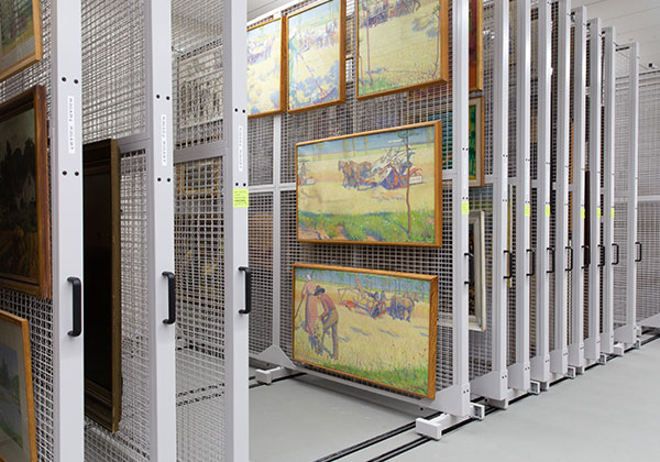 hanging art collection compact storage racking