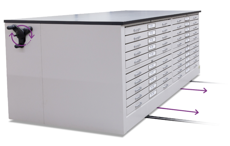 museum worktable moving counter height storage system
