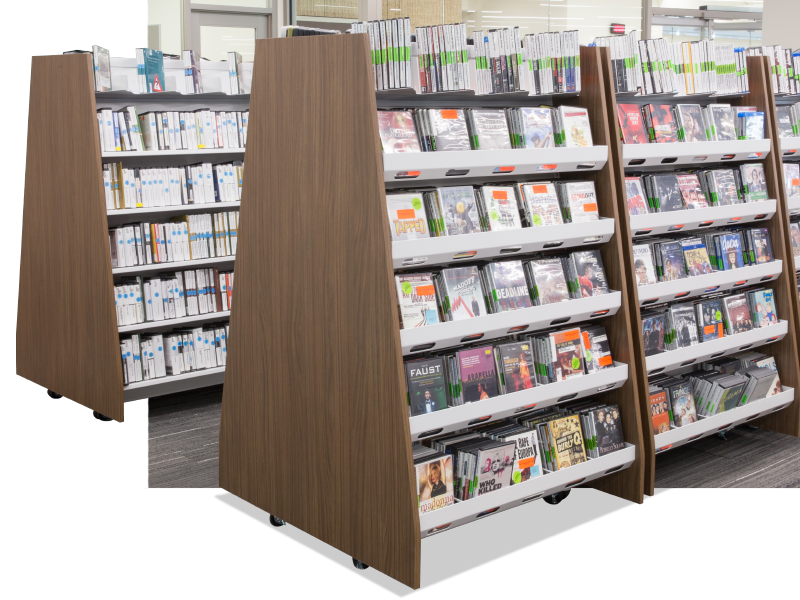 library shelving with casters