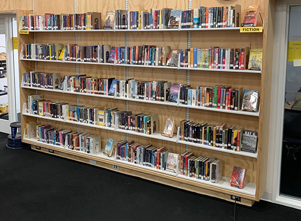 plywood cantilever library shelving