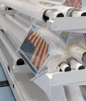 rolled textile storage flag collection
