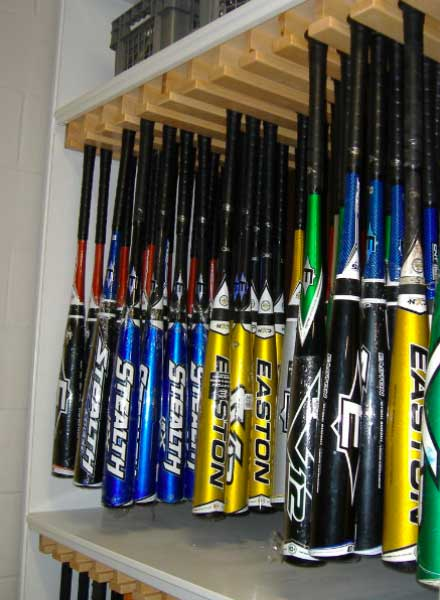 baseball bat equipment room organize