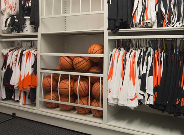 basketball equipment storage systems