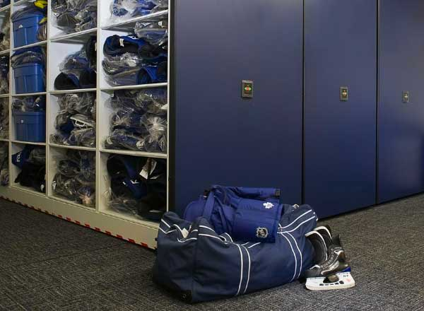 hockey team equipment room space planning