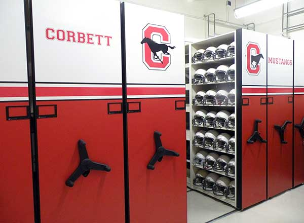 middle school sports team equipment room
