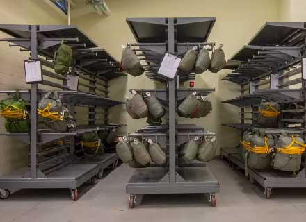 heavy-duty military mobile racking carts