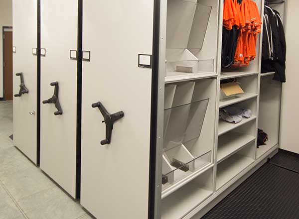 professional basketball equipment room storage