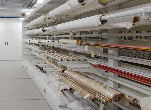 rolled textile shelving system