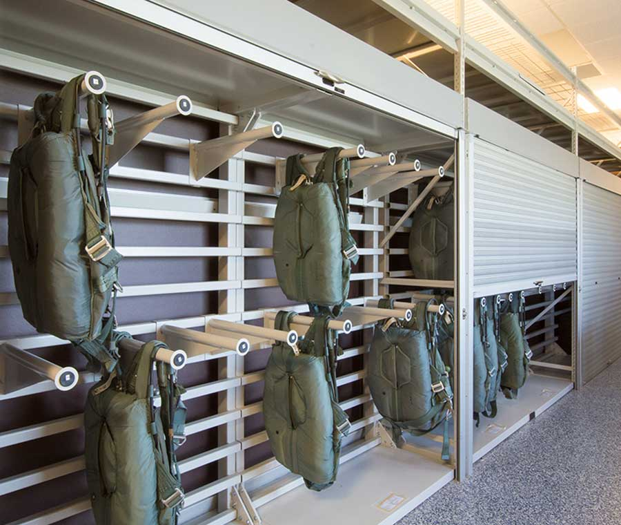 secure parachute shelving military storage solutions