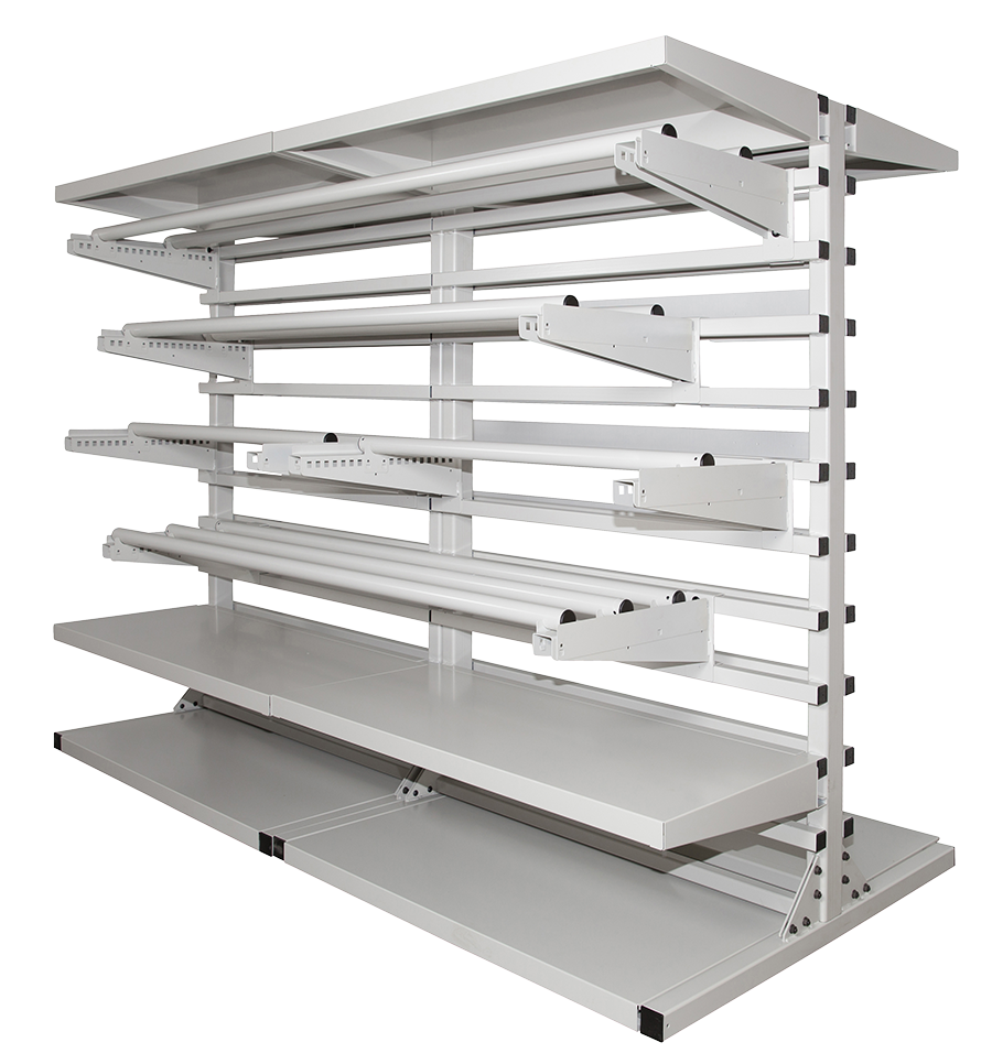 textile cantilever shelving system spacesaver