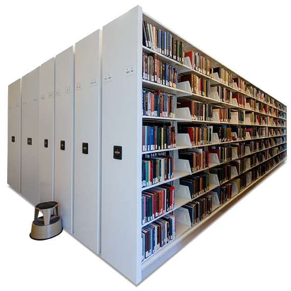 increase book storage in less square feet with high-density mobile storage
