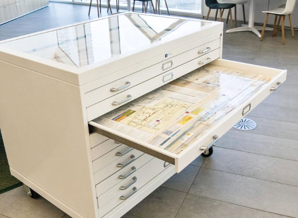 community archive secure display flat file cabinet