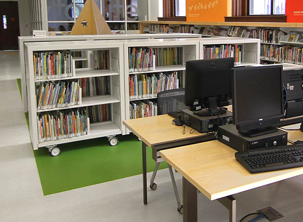 community library moveable book shelves