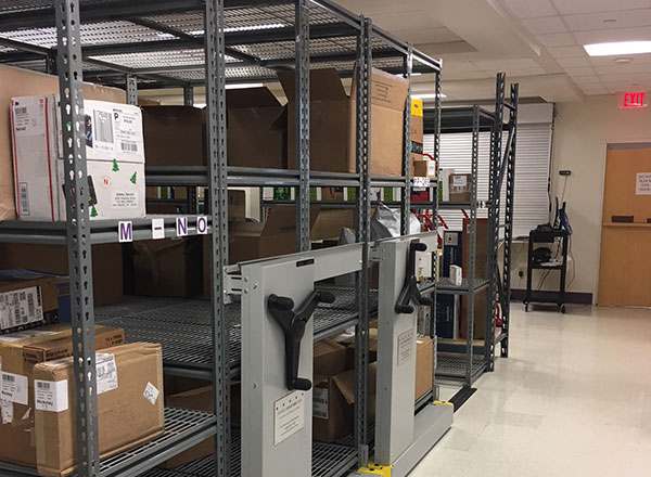 mail room movable heavy-duty shelving system