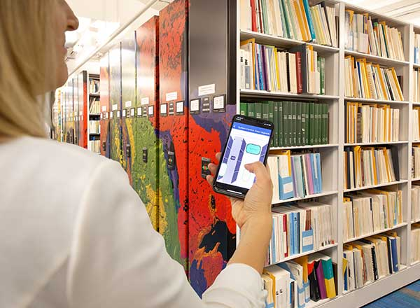 moveable library shelves mobile app controlled