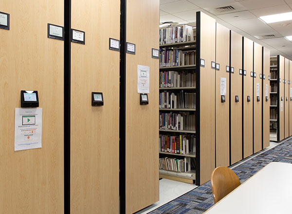 powered moveable library shelving to expand study space