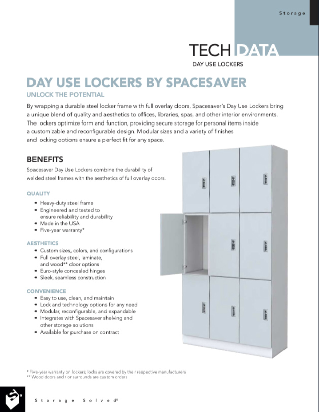 Download Day Use Lockers Tech Data