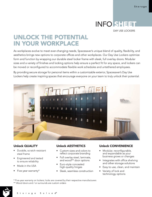 download day use lockers in the office info sheet