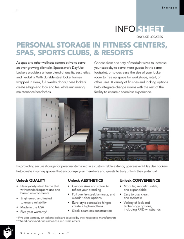 download day use locker in the gym info sheet